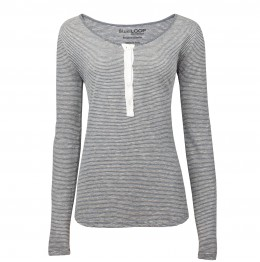 DAMES Pitman T LS Henley - Sky Striped